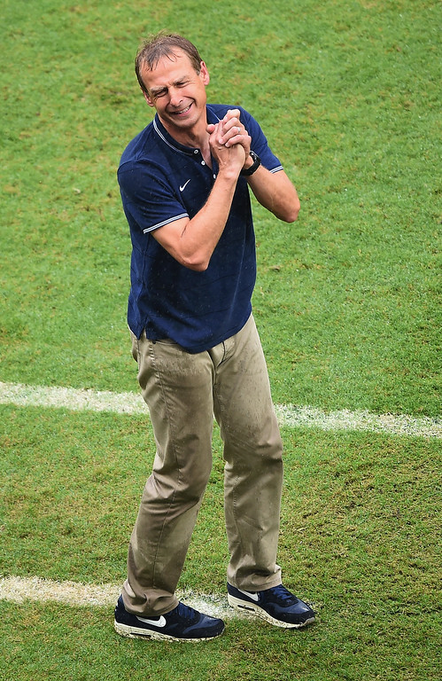 . Head coach Jurgen Klinsmann of the United States reacts during the 2014 FIFA World Cup Brazil group G match between the United States and Germany at Arena Pernambuco on June 26, 2014 in Recife, Brazil.  (Photo by Laurence Griffiths/Getty Images)