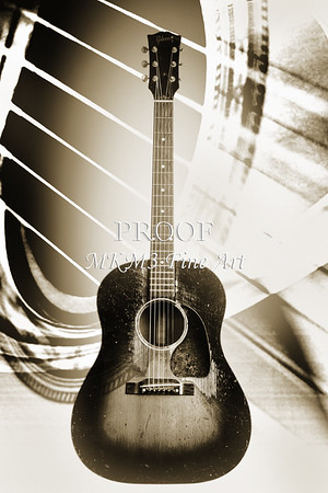 Gibson 1952 J45 Guitar in Black and White Fine Art