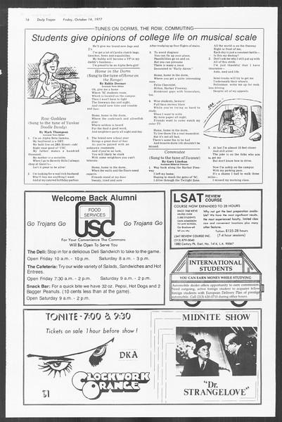Daily Trojan, Vol. 72, No. 19, October 14, 1977