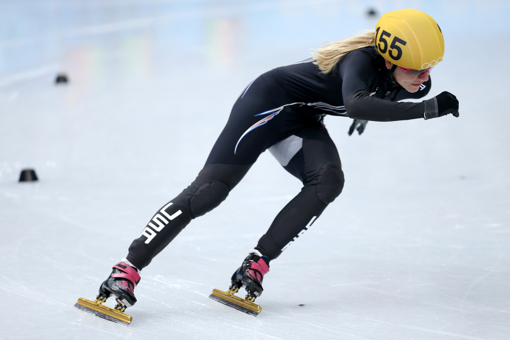 . Emily Scott of the United States competes in the Short Track Ladies\' 1000m Heat at Iceberg Skating Palace on day 11 of the 2014 Sochi Winter Olympics on February 18, 2014 in Sochi, Russia.  (Photo by Matthew Stockman/Getty Images)