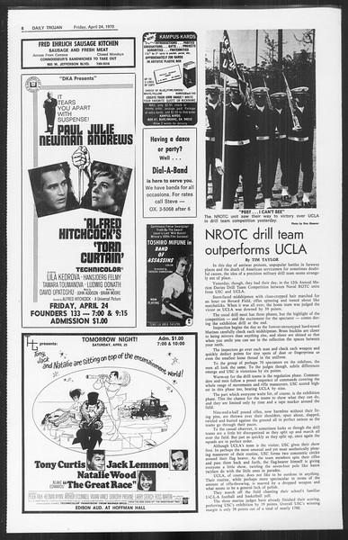 Daily Trojan, Vol. 61, No. 112, April 24, 1970
