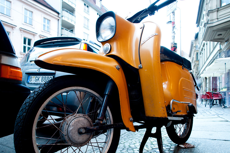 Vintage scooter in the former East Berlin, Germany
