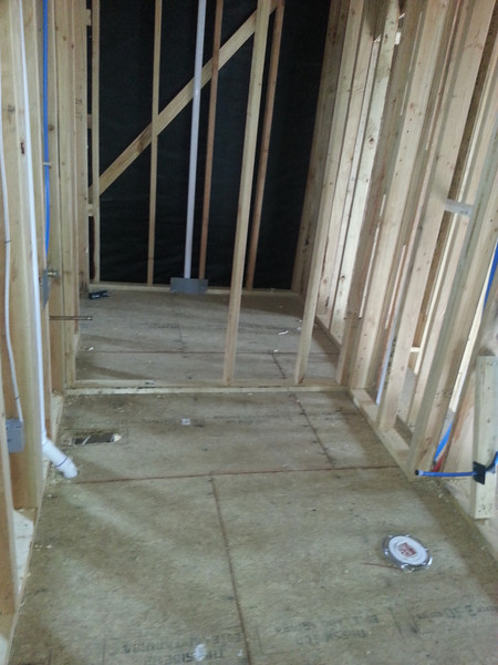 Spare (Sylvia's) bathroom.  With spare (Sylvia's) closet beyond.