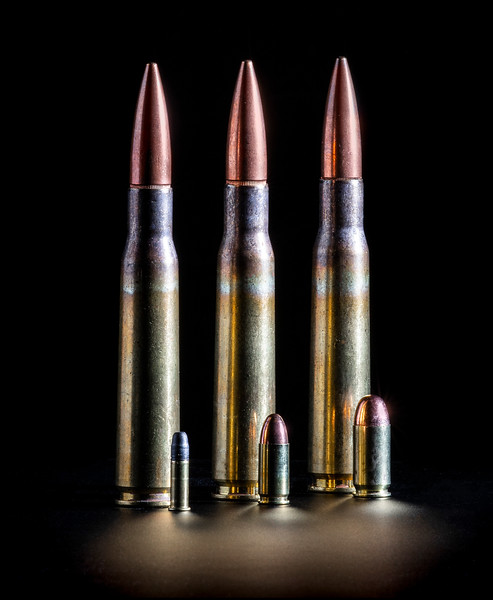 .22, 9mm, .45, and .50 caliber comparisons.