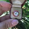3.12ct Old European Cut Diamond Ruby Halo Ring, GIA L  6