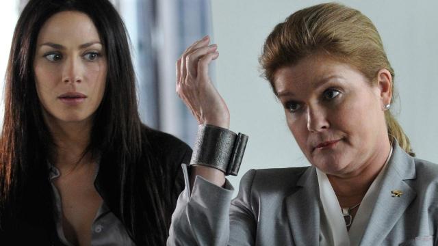 ". Star Trek Voyager\'s Kate Mulgrew in episode 308, \""The 40th Floor.\""  SyFy"