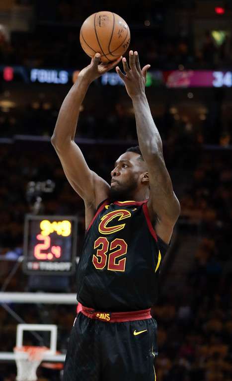 . Cleveland Cavaliers\' Jeff Green shoots against the Toronto Raptors in the first half of Game 4 of an NBA basketball second-round playoff series, Monday, May 7, 2018, in Cleveland. (AP Photo/Tony Dejak)