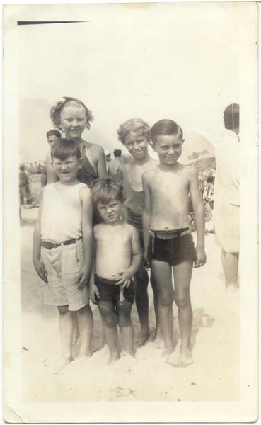 1937, July: Teresa Brennan, Jimmy Brennan, Eileen Keeney, George F. Frost, Gerard Frost.  Riis Park.