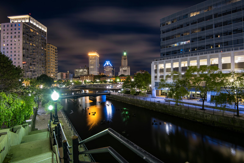 Late Night shot of Providence Water park, Downtown Providence, Rhode Island