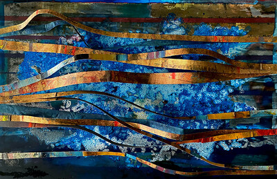 """""""Life is Flowing 2"""" (oil on canvas/silver/gold/copper leaf) by Miguel Barros"""
