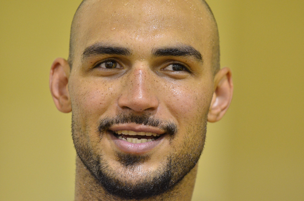. Robert Sacre. Laker\'s practice and media meet up with draft pick Ryan Kelly and latest signee Robert Sacre.   Photo by Brad Graverson 7-10-13