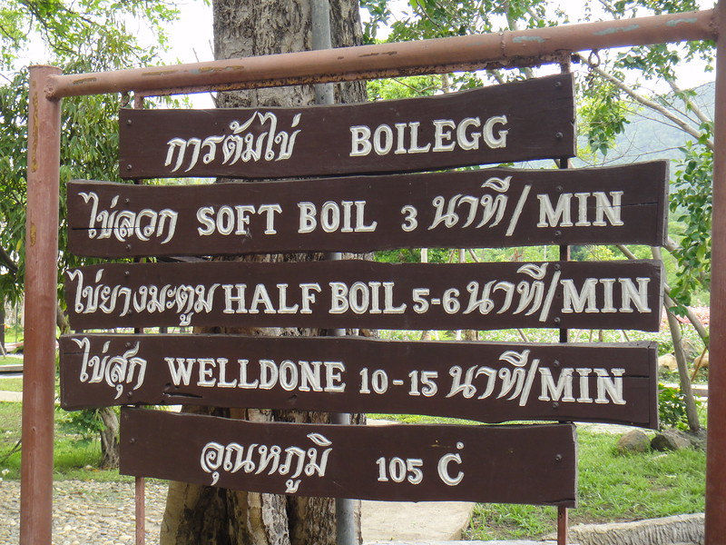 Egg Boiling Instructions at Sankampaeng Hot Spring