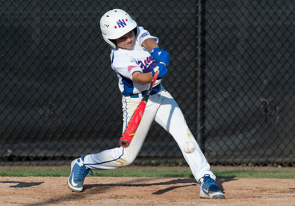 08/05/19 Wesley Bunnell | Staff New York Haverstraw Little League defeated Delewar's Neward National Little League Monday evening at Breen Field in Bristol. Joey Papili (5)