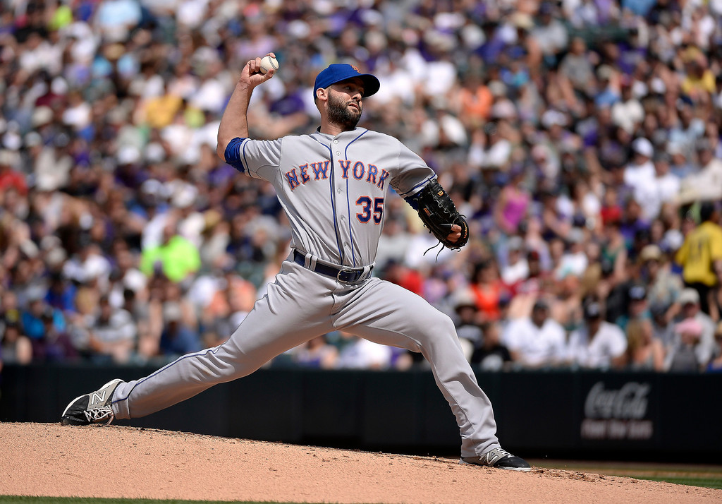 . New York Mets starting pitcher Dillon Gee (35) delivers  a pitch during the first inning against the Colorado Rockies May 4, 2014 at Coors Field. (Photo by John Leyba/The Denver Post)