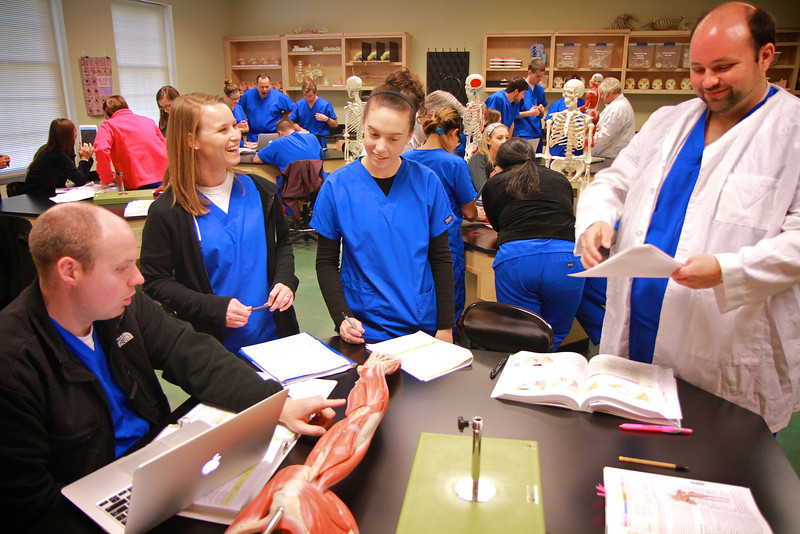 PA students in lab; Spring 2014.