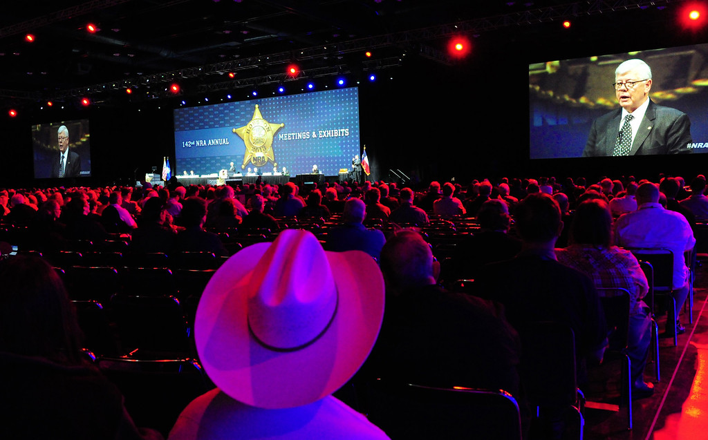 . President of the NRA (National Rifle Association), David Keene is seen on a jumbo video screen as he addresses the annual Convention May 4, 2013 in Houston, Texas.     KAREN BLEIER/AFP/Getty Images
