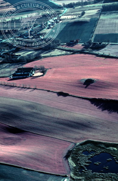 Farmland west Ravlunda, with ponds and prehistoric remains. Experimentally photographed with infrared film and Kodak Wratten gelatin filter No: 12 & 25 (2 April, 1989). | LH.0343