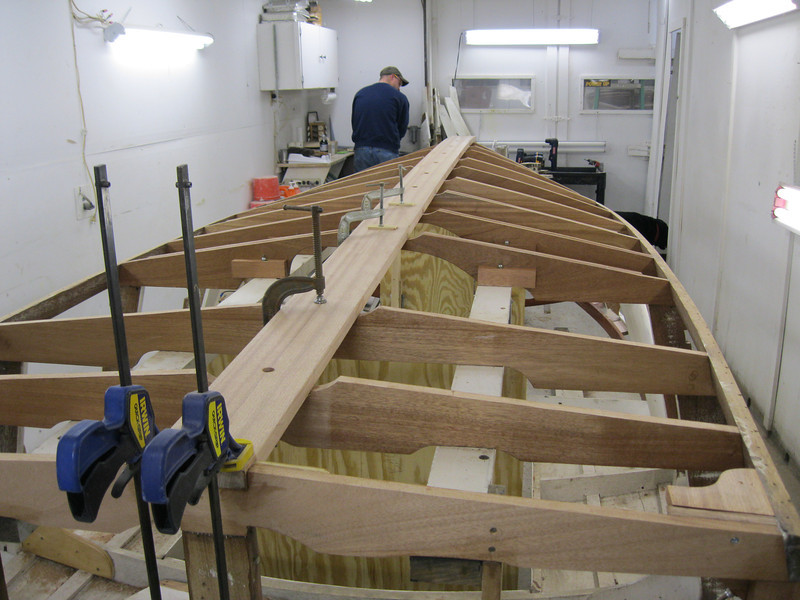 Rear view of new keel installed with new frames coated with epoxy.