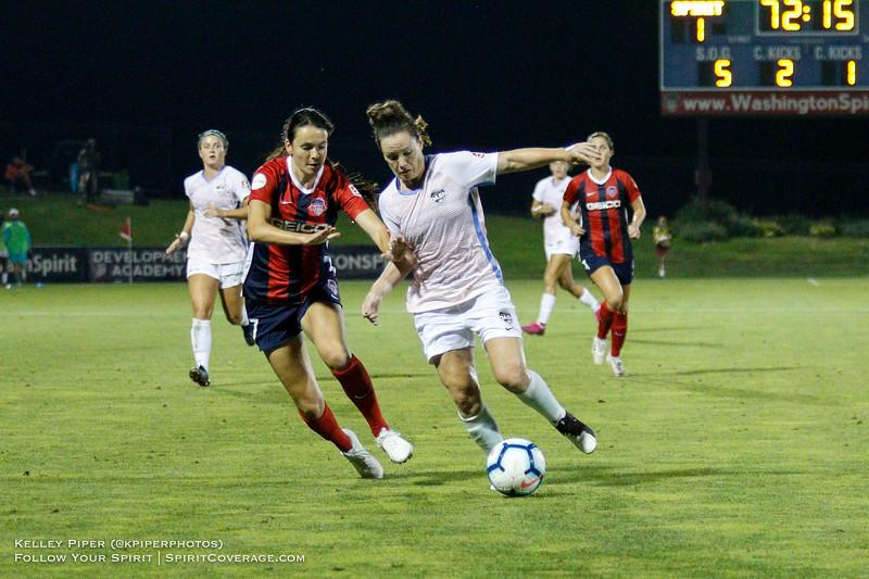 Washington Spirit forward Cali Farquharson (17) and Houston Dash defender Allysha Chapman (4) at Maureen Hendricks Field in Boyds, MD, on July 20, 2019.