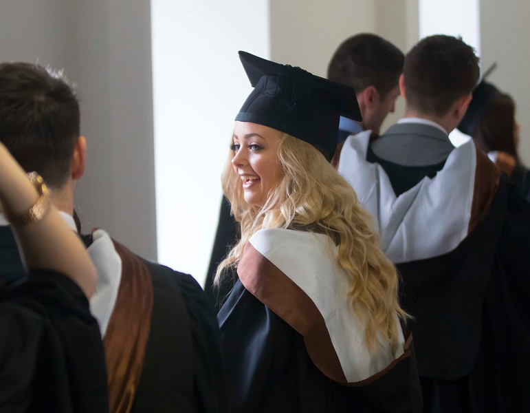 WIT (Waterford Institute of Technology) conferring ceremony at WIT College Street Campus, Waterford. Pictured are graduates on their way to the conferring. Photo; Mary Browne