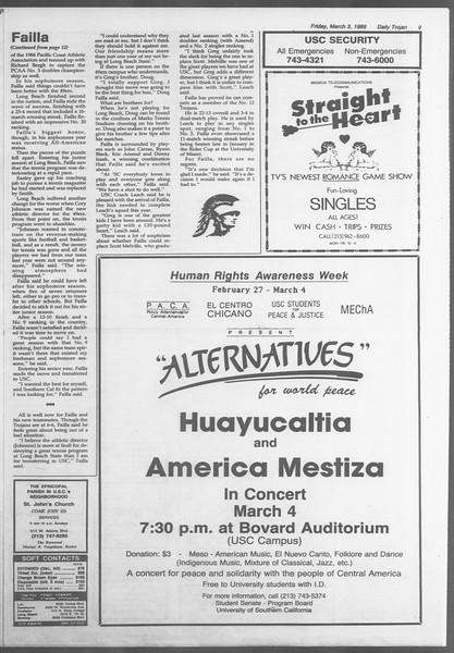 Daily Trojan, Vol. 108, No. 34, March 03, 1989