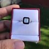 1.19ct Vintage Emerald Cut Diamond Onyx Ring, GIA E VS2 19