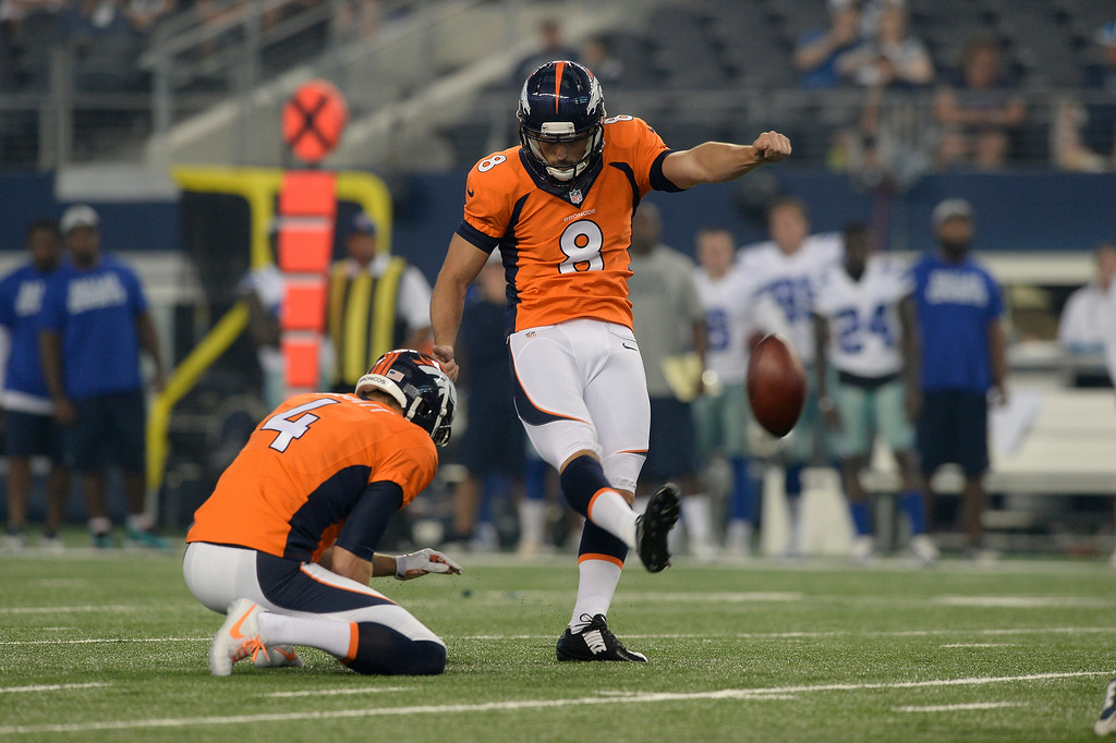. ARLINGTON, TX - AUGUST 28: Denver Broncos Brandon McManus miss on a 52 yard field goal attempt during he first quarter against the Dallas Cowboys August 28, 2014 at AT&T Stadium. (Photo by John Leyba/The Denver Post)