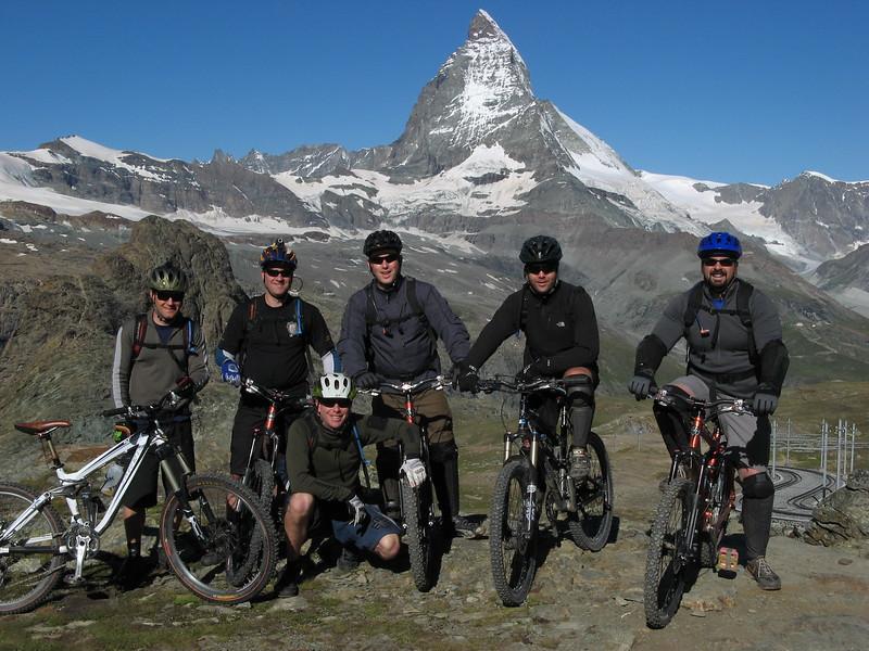 Chris, Ian, Dave, Scott, John & Greg with the Matterhorn at the start of our first ride in Zermatt.