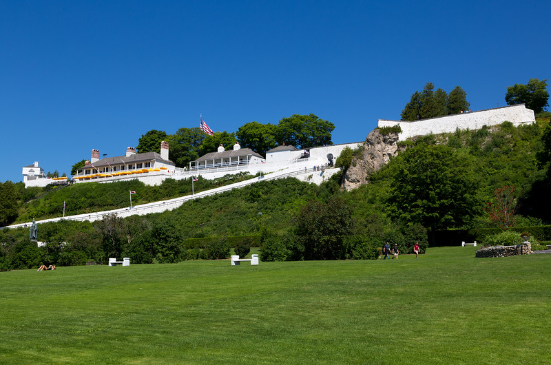 A view of Fort Mackinac from the huge lawn below it