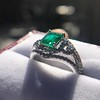 1.29ctw Emerald and Diamond Modified Halo Ring 15