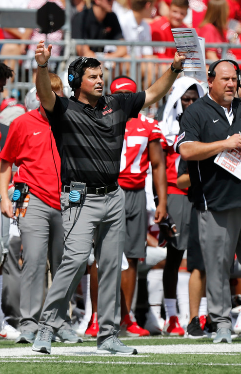. Ohio State acting head coach Ryan Day signals to his team during the first half of an NCAA college football game against Oregon State, Saturday, Sept. 1, 2018, in Columbus, Ohio. (AP Photo/Jay LaPrete)