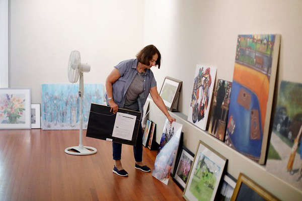 Preparations for OLLI Art Show-080819