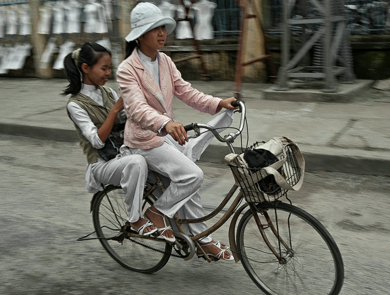 Students on there way to school.  Ninh Binh, vietnam,2008.
