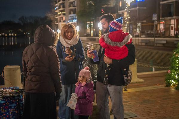 Hanukkah Menorah Lighting at Lake Anne 12-14-17