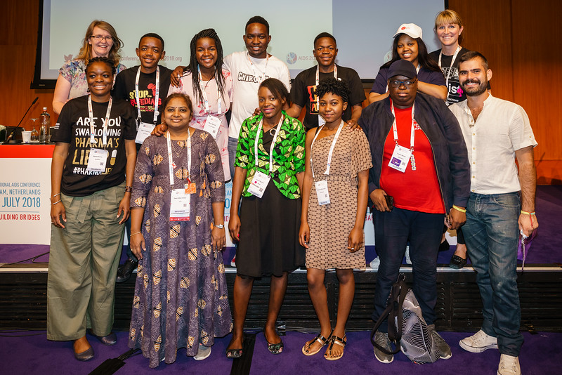 22nd International AIDS Conference (AIDS 2018) Amsterdam, Netherlands.   Copyright: Matthijs Immink/IAS  Young people at the centre: Community mobilization for youth-friendly HIV services  On the photo: groupphot