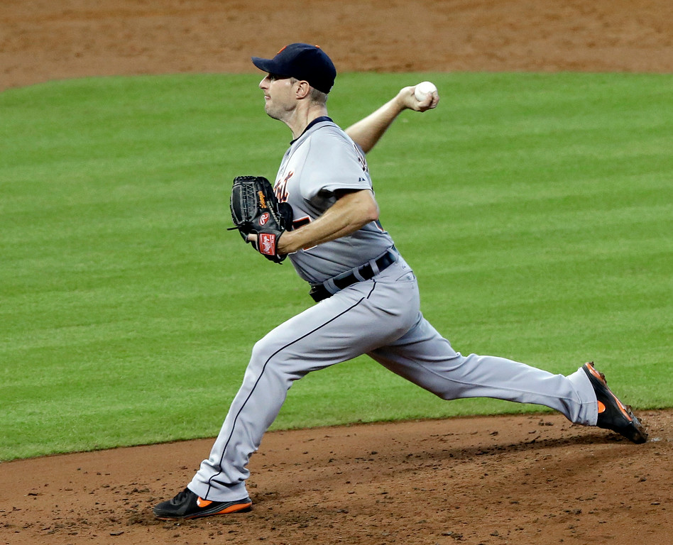. Detroit Tigers\' Max Scherzer delivers a pitch against the Houston Astros in the fifth inning of a baseball game Saturday, June 28, 2014, in Houston. (AP Photo/Pat Sullivan)