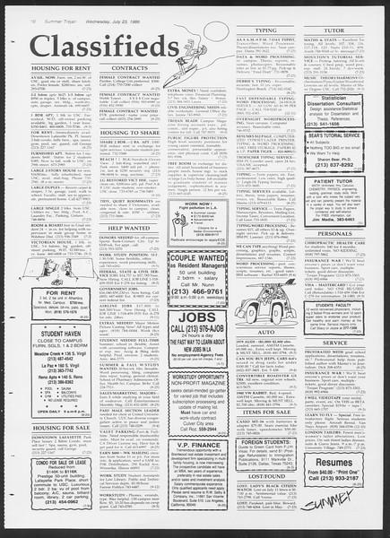 Summer Trojan, Vol. 101, No. 10, July 23, 1986