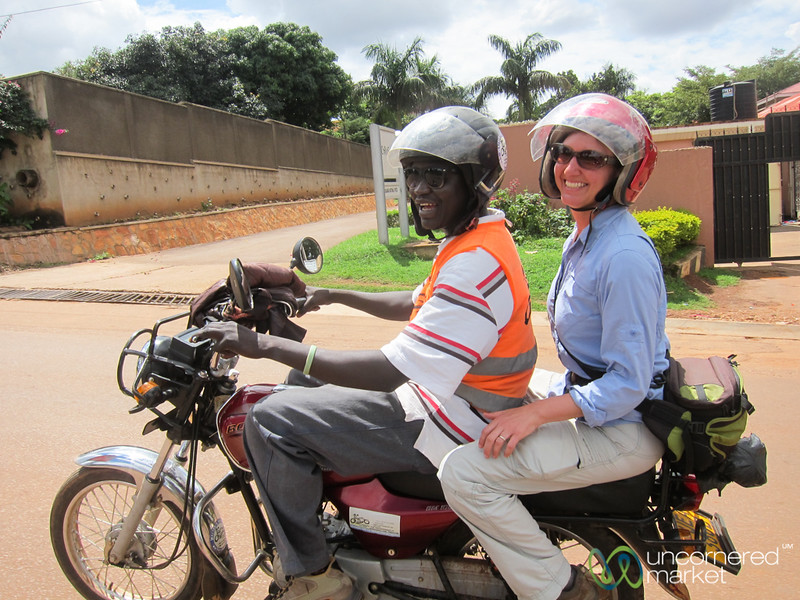 Audrey on the Back of a Boda Boda (Motorbike) - Kampala, Uganda