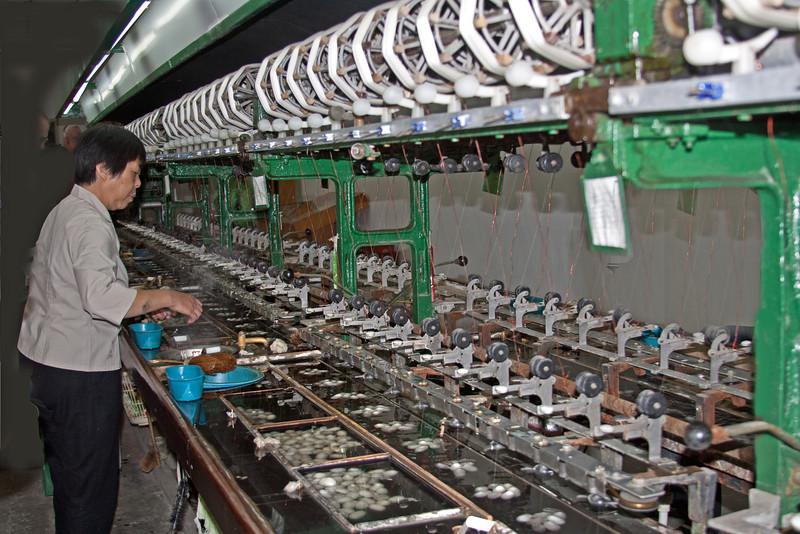 spinning silk fibers