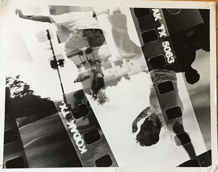 collage of negatives, parking lot skateboarding