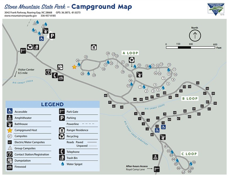 Stone Mountain State Park (Campground Map)