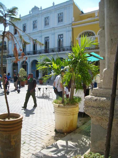Buying (delicious) churros at Plaza Vieja