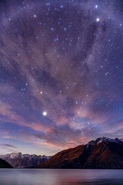 Jupiter and Milky Way Over Lake Pukaki