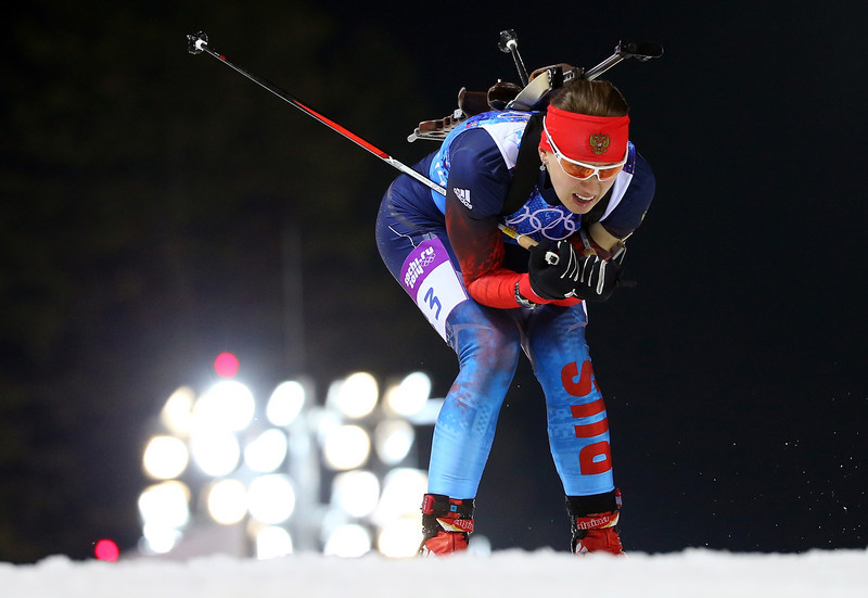 . Olga Vilukhina of Russia competes during the Biathlon Women\'s 4 x 6 km Relay on day 14 of the Sochi 2014 Winter Olympics at Laura Cross-country Ski & Biathlon Center on February 21, 2014 in Sochi, Russia.  (Photo by Robert Cianflone/Getty Images)