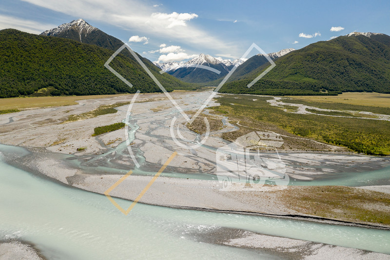 Aerial image of the Hawdon River, near wher it runs into the Waimakariri River