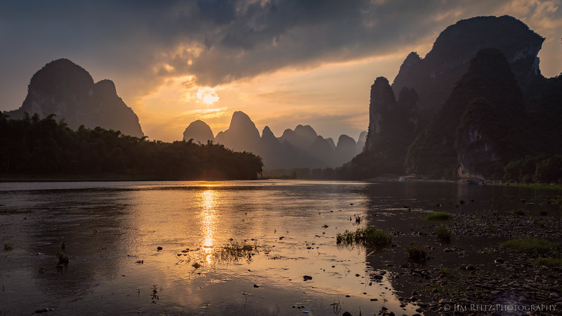 Sunset along the Li River near Guilin, China.