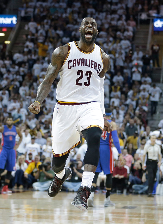 . Cleveland Cavaliers\' LeBron James reacts in the first half in Game 2 of a first-round NBA basketball playoff series against the Detroit Pistons, Wednesday, April 20, 2016, in Cleveland. (AP Photo/Tony Dejak)