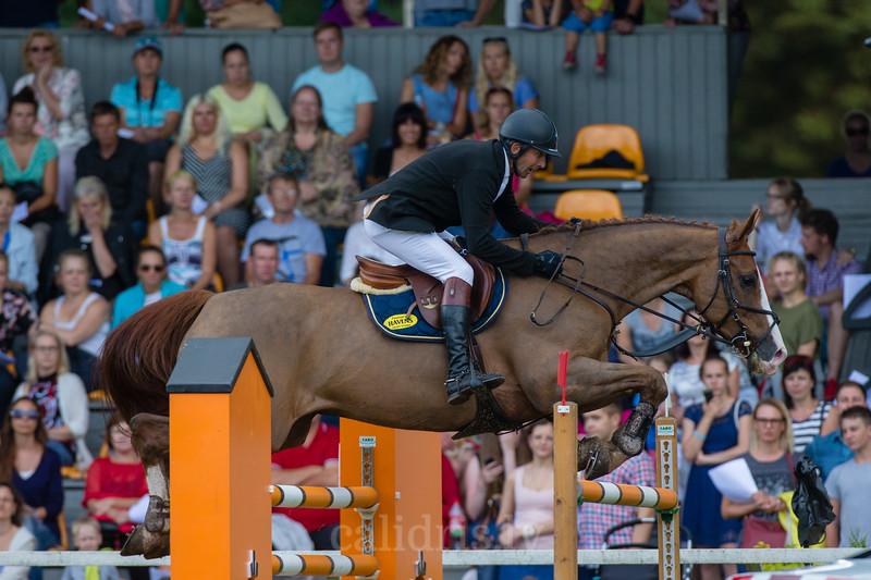 Rein PILL (EST) with the horse A BROK, World Cup competition, Grand Prix Riga, CSI2*-W, CSIYH1* - Riga 2016, Latvia