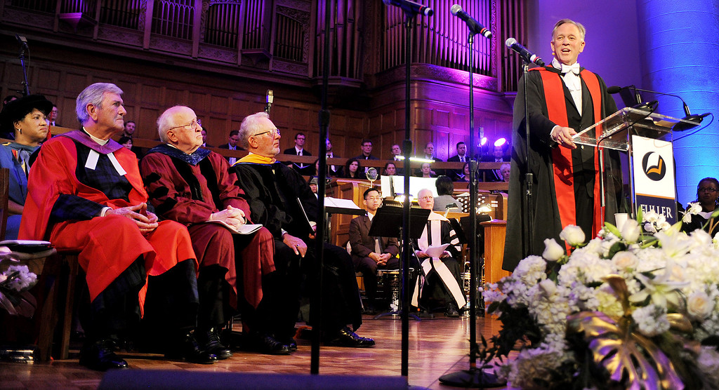. New president of Fuller Theological Seminary speaking at his Inauguration. Fuller Theological Seminary celebrated the inauguration of its Fifth President, Mark Labberton, on Wednesday at First United Methodist Church in Pasadena Wednesday, November 6, 2013.(Photo by Walt Mancini/Pasadena Star-News)