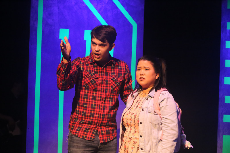 """Jake (Ian McCreary) and Christine (Grace Langford) singing """"Upgrade"""" in BE MORE CHILL, New Line Theatre, 2019. Photo credit: Jill Ritter Lindberg."""